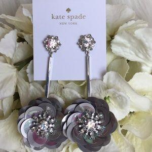 Kate Spade Silver Sequin Drop Earrings NWT